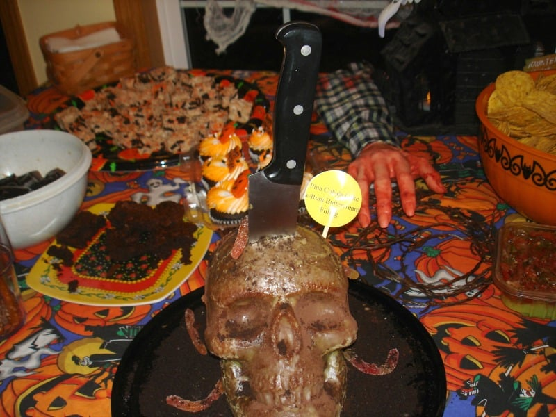 Halloween Skull Cocktail Cake cookingwithcurls.com