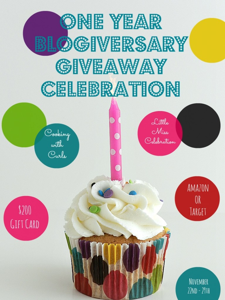 One Year Blogiversary Giveaway Celebration cookingwithcurls.com