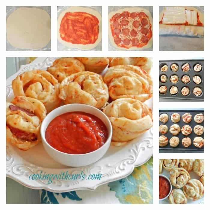 Pepperoni Pizza Muffins Collage cookingwithcurls.com