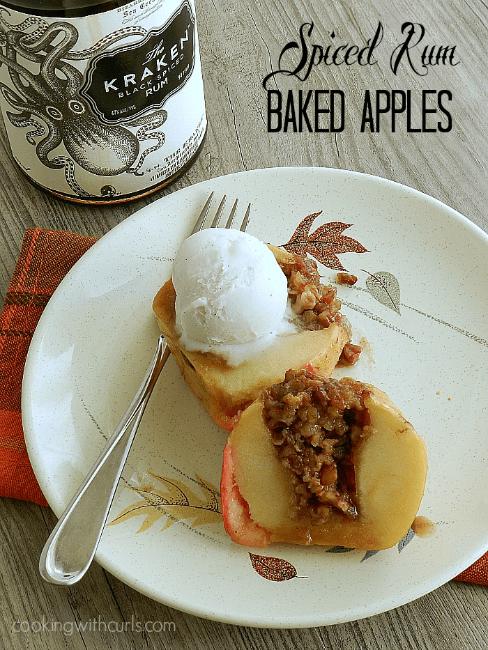 Spiced Rum Baked Apples | cookingwithcurls.com