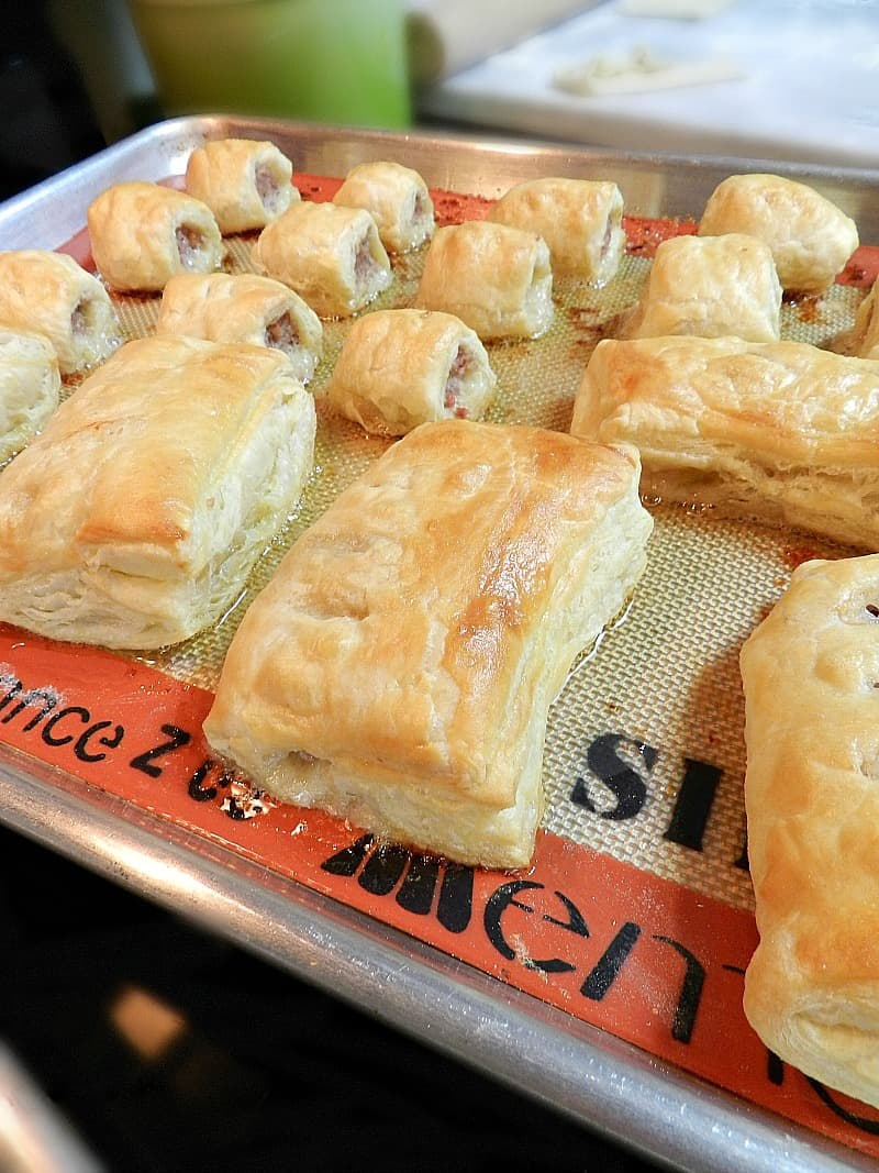 Sausage Rolls baked pan cookingwithcurls.com
