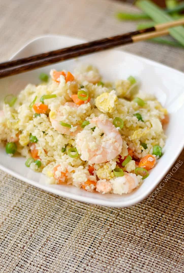 Everyone in the family will love this healthy, Paleo Shrimp Fried Rice! cookingwithcurls.com