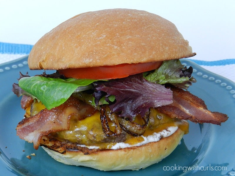 Bistro Burger with Garlic Aioli cookingwithcurls.com