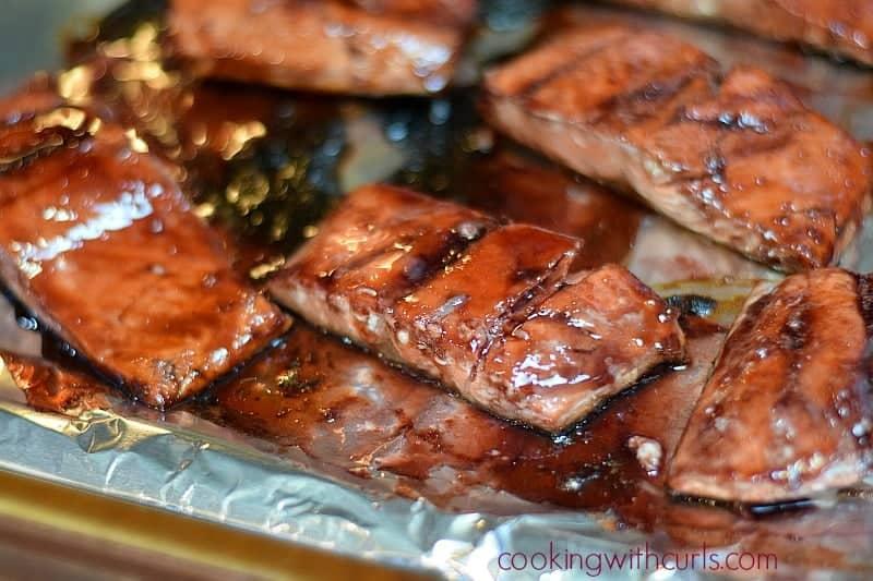 Cherry Chipotle Glazed Salmon flip cookingiwthcurls.com