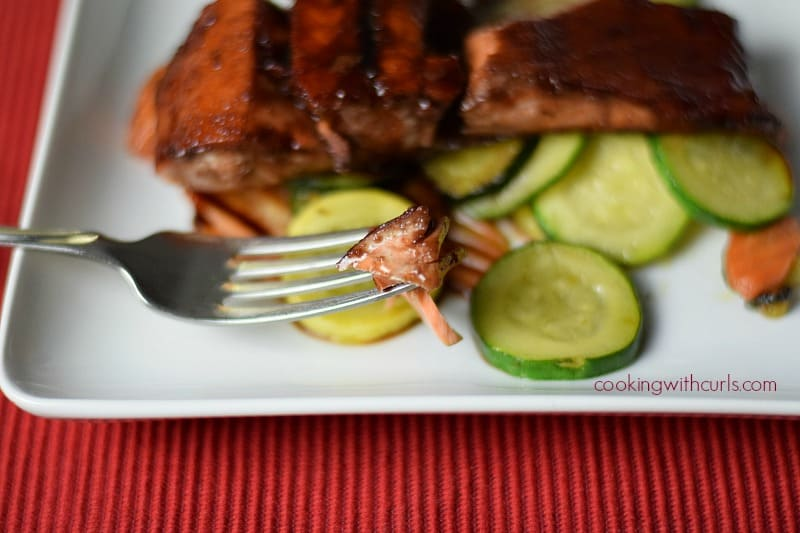 Cherry Chipotle Glazed Salmon fork cookingwithcurls.com