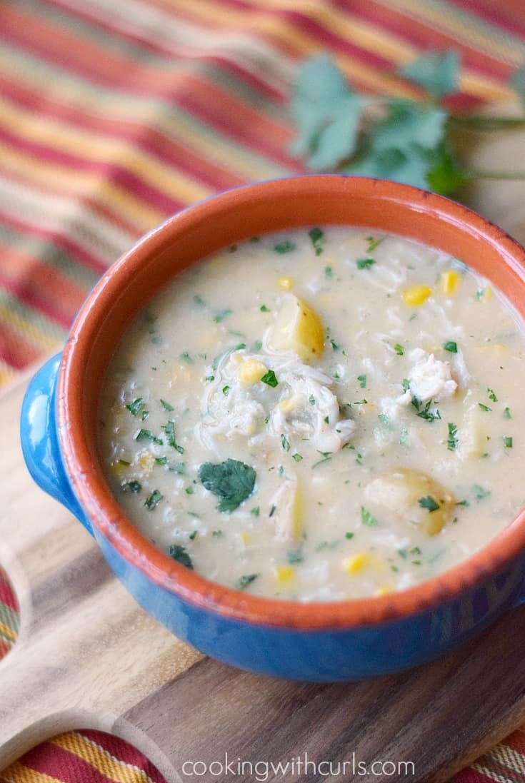 Hearty and delicious Southwest Crab Chowder is perfect on cold winter nights | cookingwithcurls.com