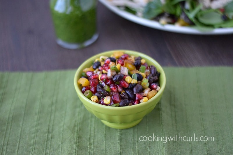 Black Bean Salsa in a small green bowl