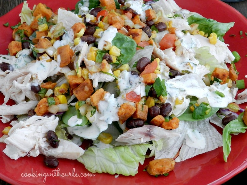 Southwest Salad Fall with Roast Sweet Potatoes and Corn with Chiptole Ranch Dressing cookingwithcurls.com
