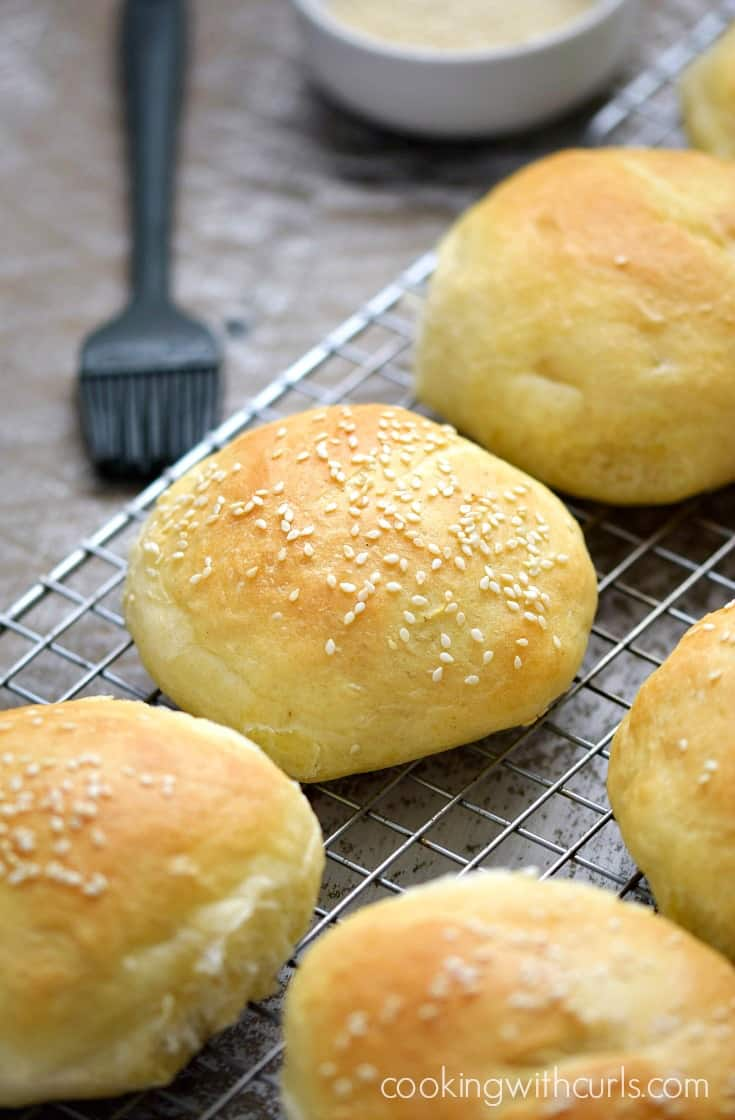 The BEST Homemade Hamburger Buns, hot and fresh out of the oven | cookingwithcurls.com