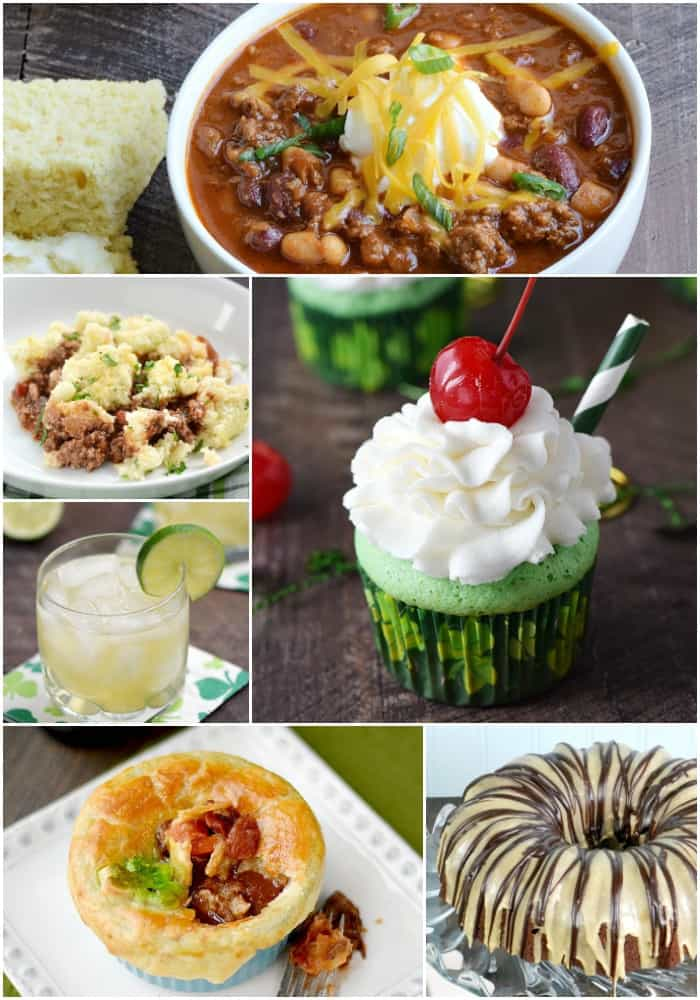 collage of Irish recipes including Guinness Chili, Paleo Shepherd's Pie, Jameson and Ginger cocktail, Boozy Shamrock Shake Cupcakes, Guinness Steak Pie and BAILEYS Kiss Bundt Cake