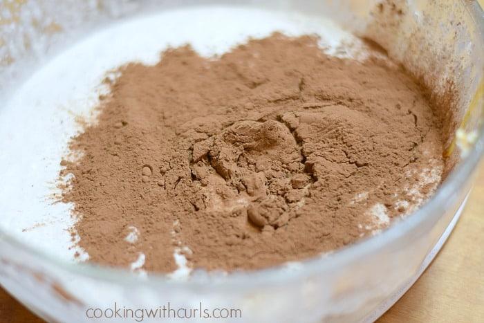Cocoa powder added to the coconut cream.