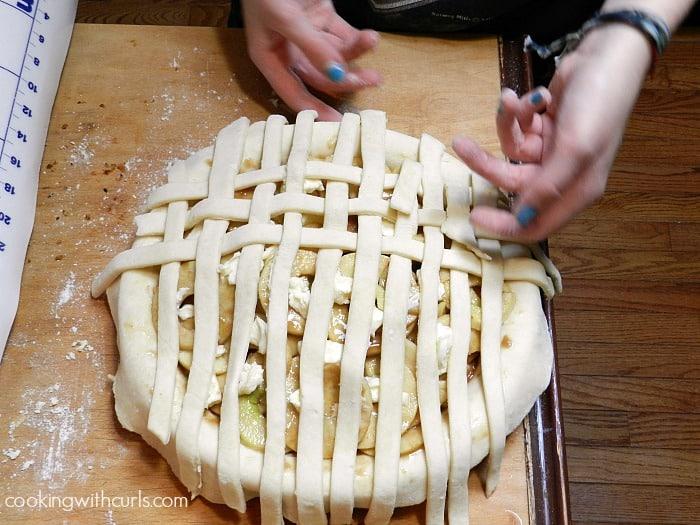 Lattice Top Apple Pie fold 3 cookingwithcurls.com