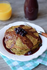 Matcha Pancakes with Pomegranate Acai Syrup