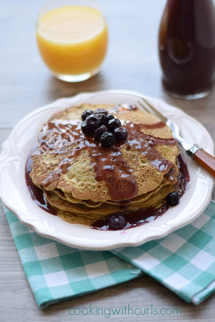 Matcha Pancakes with Pomegranate Acai Syrup Cooking with Astrology #Aries cookingwithcurls.com