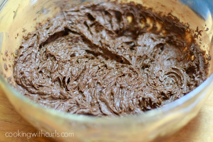 chocolate blended into the sweet potato puree in a large glass bowl