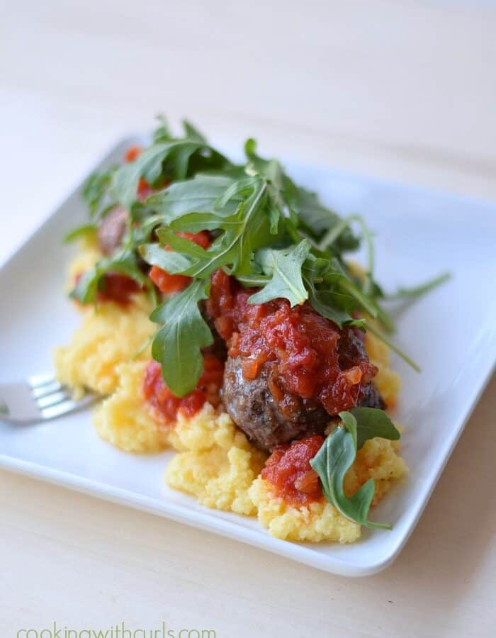 Relished Foods Lamb Meatballs with Creamy Polenta and Tomato Ragout by cookingwithcurls.com