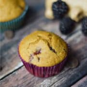 Two blackberry muffins surrounded by fresh blackberries and dark chocolate chips and title graphic across the top.