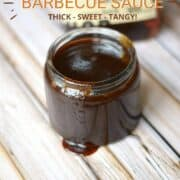 a jar of barbecue sauce with a brush in the foreground and bottle of bourbon in the background with title graphic across the top.