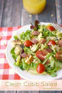 Clean Cobb Salad with Lemon-Vinaigrette is a delicious alternative to the original! cookingwithcurls.com