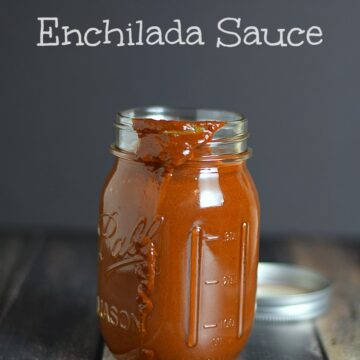 Red Chile Enchilada Sauce in a glass jar