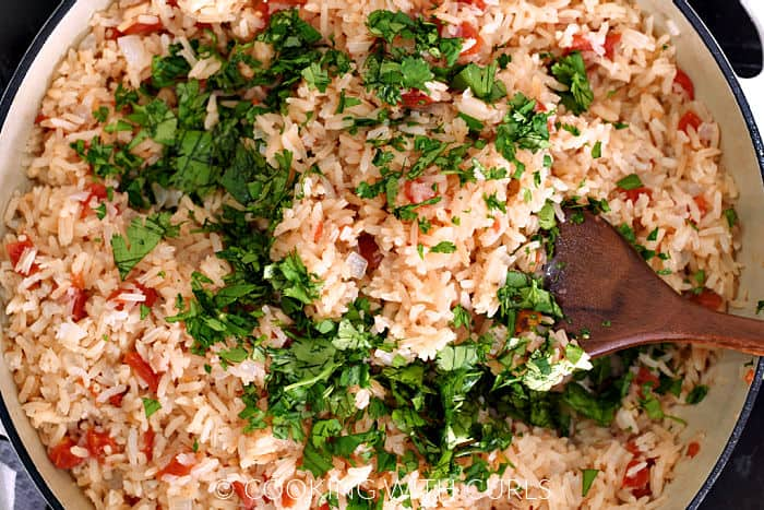 Rice, tomatoes, and chopped cilantro in a large skillet.