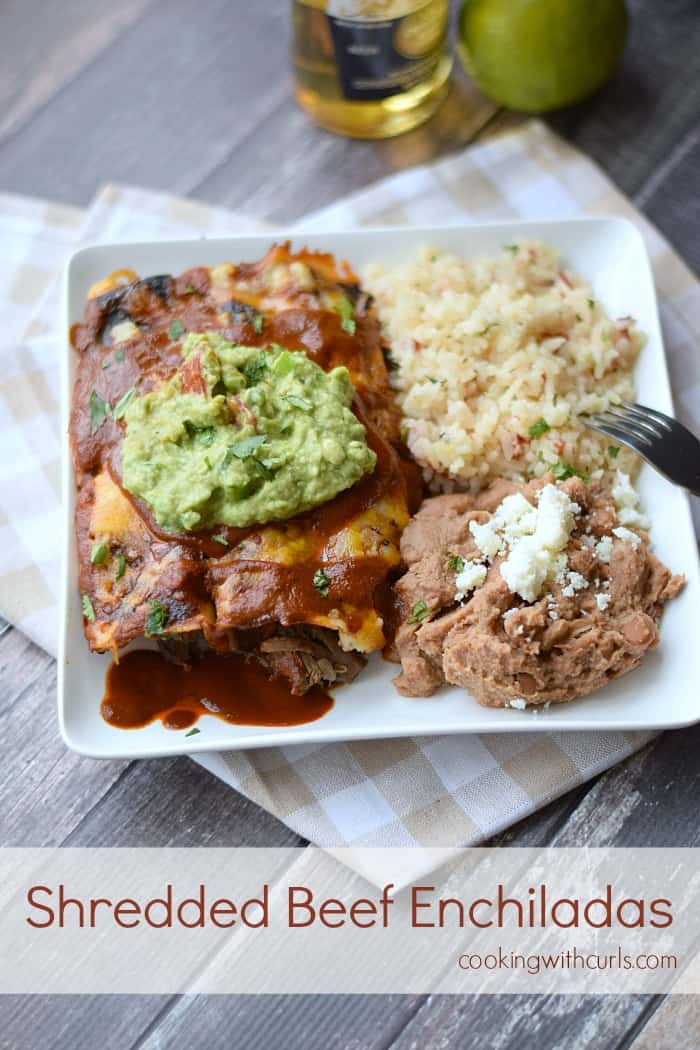 Shredded Beef Enchiladas cookingwithcurls.com #cincodemayo #mexicanfood #beef