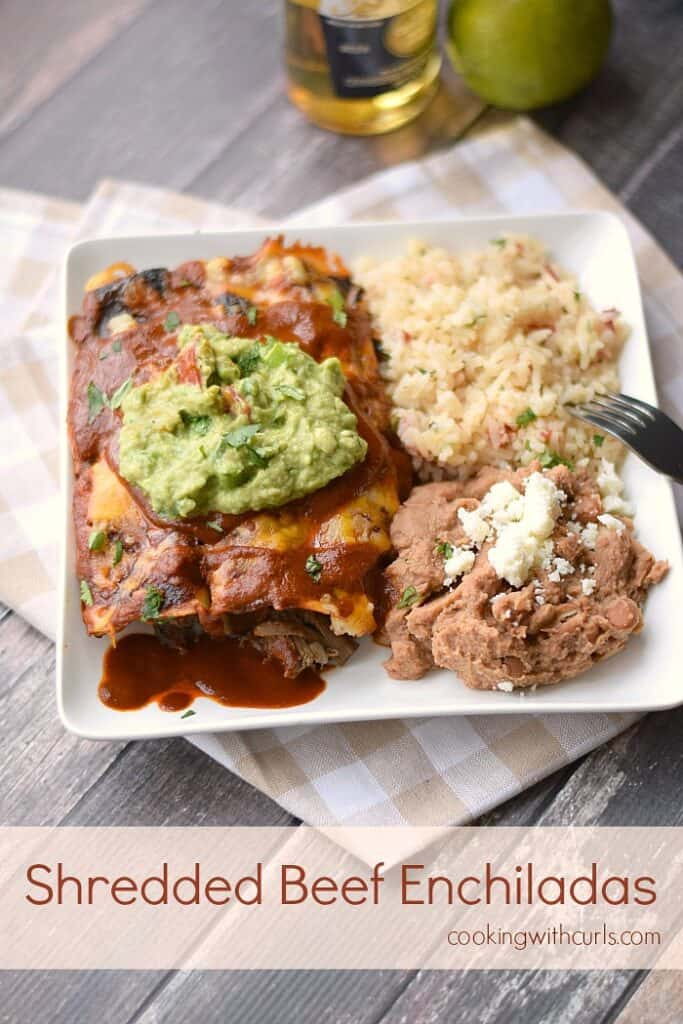 Shredded Beef Enchiladas with homemade enchilada sauce! cookingwithcurls.com