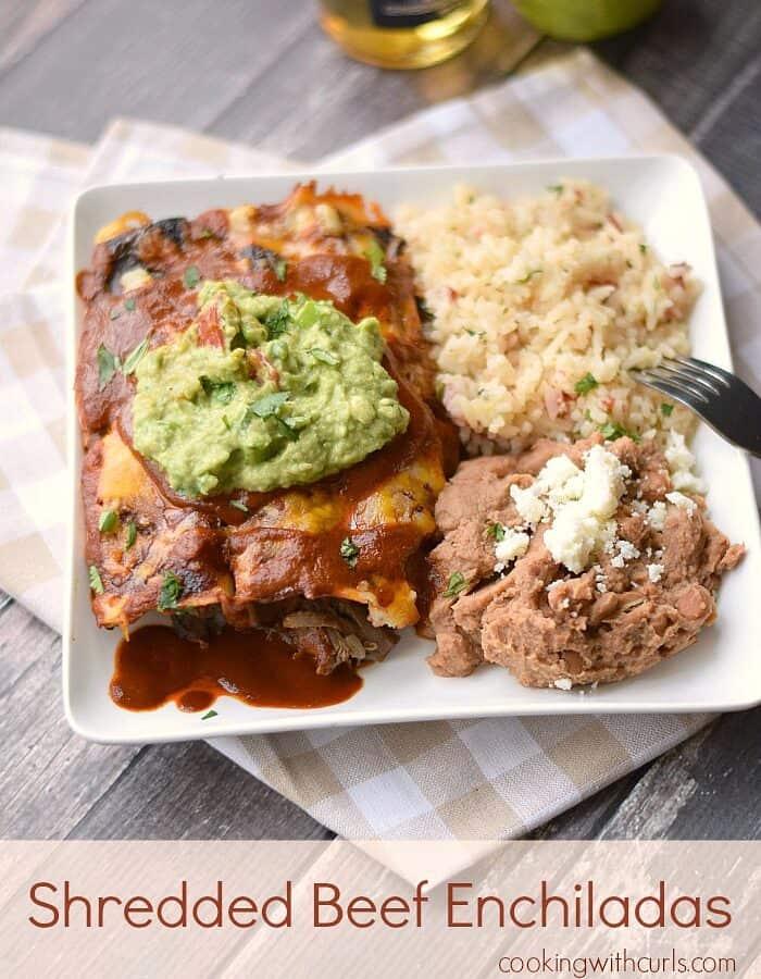 Shredded Beef Enchiladas with homemade enchilada sauce! cookingwithcurls.com