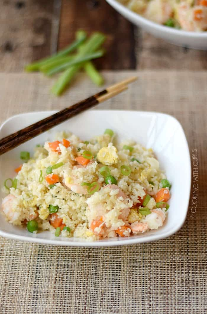 This Paleo Shrimp Fried Rice is a light and healthy take on an old classic! cookingwithcurls.com