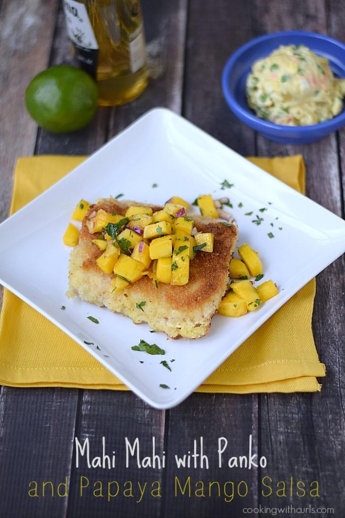 Mahi Mahi with Panko and Papaya Mango Salsa | cookingwithcurls.com | Cooking with Astrology #Gemini