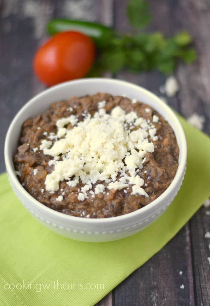 Refried Black Beans are crazy delicious and easy to prepare! cookingwithcurls.com
