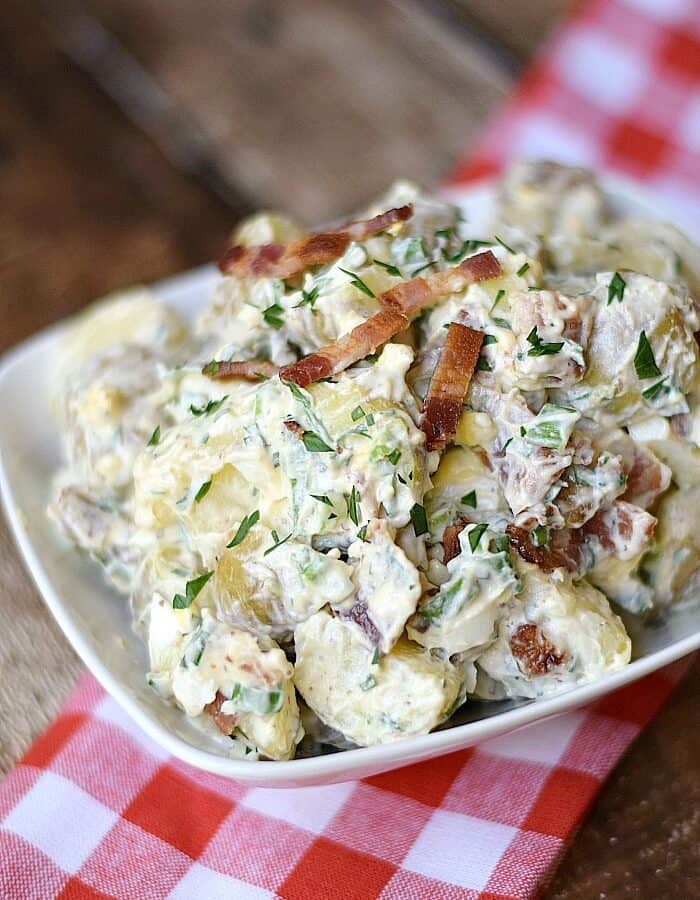This Bacon Potato Salad is guaranteed to become your family's new favorite side dish! cookingwithcurls.com