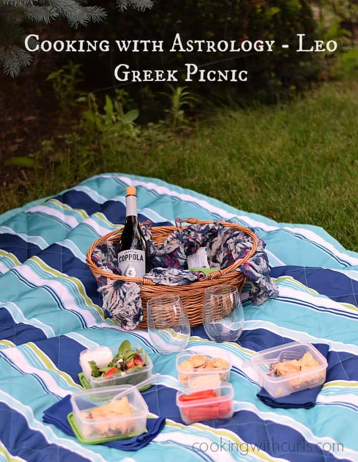 Cooking with Astrology #Leo Greek Picnic | cookingwithcurls.com | #eggplantdip #sesamecrackers #greeksalad #creamyfetadressing #summerymeatpie #pistachioicecream