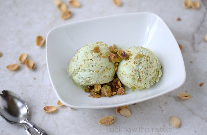 Pistachio Ice Cream with Pistachio Praline | Cooking with Astrology #Leo | cookingwithcurls.com