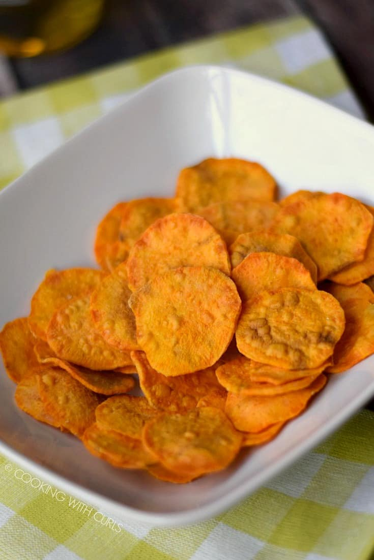 Sweet Potato Chips in a white, rectangle bowl