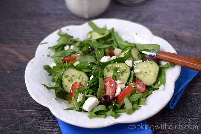 Traditional Greek Salad with Creamy Feta Dressing | cookingwithcurls.com