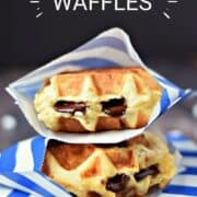 Two chocolate stuffed, thick waffles wrapped in blue and white striped paper envelopes and stacked on top of each other with title graphic across the top.