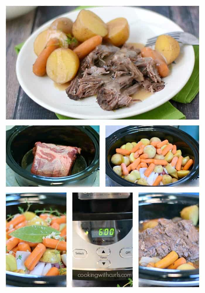 Slow Cooker Pot Roast with Gravy step-by-step collage