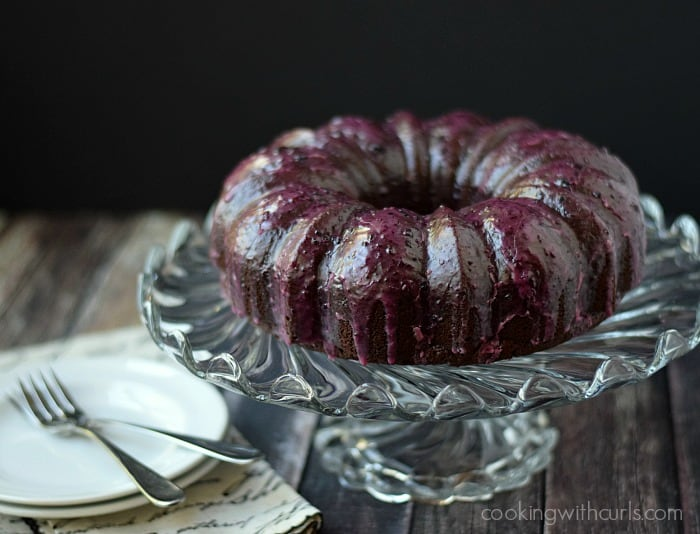 Chocolate Huckleberry Rum Cocktail Cake by cookingwithcurls.com