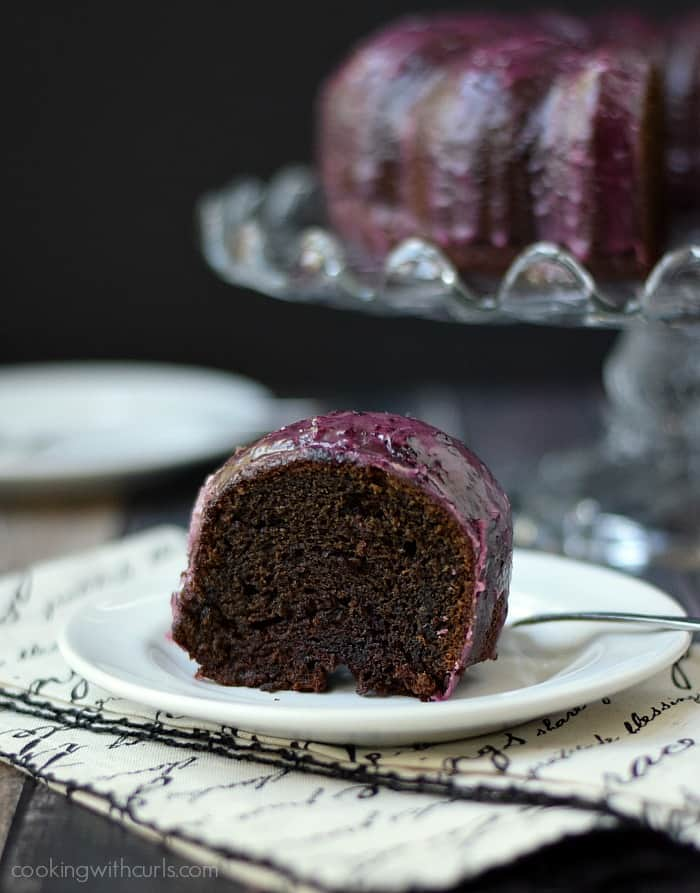 Chocolate Huckleberry Rum Cocktail Cake | cookingwithcurls.com #Bacardi