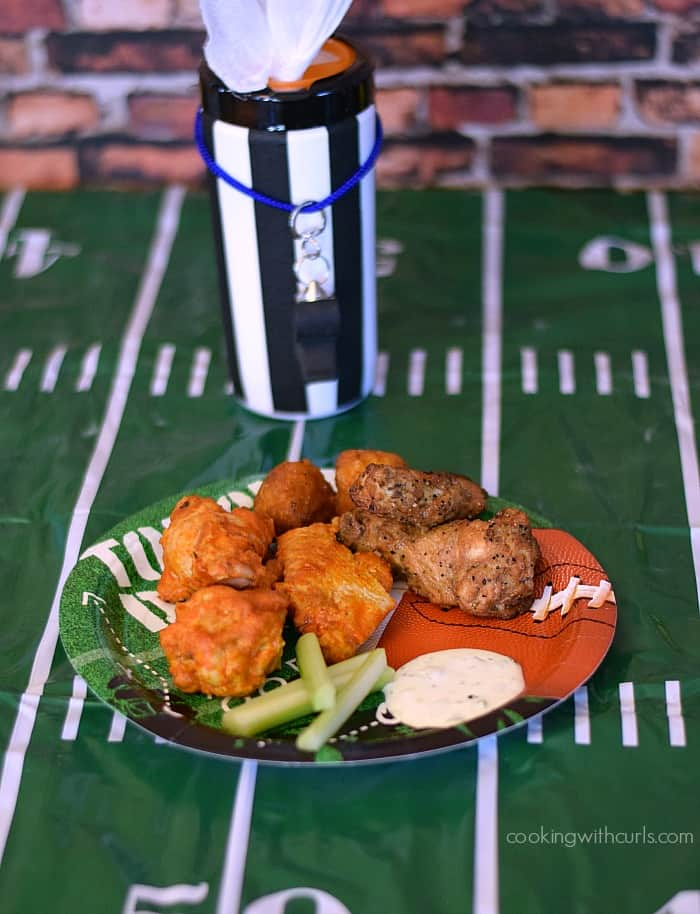 Football Party with Tyson Any'Tizers Buffalo Hot Wings and Wet-Nap Hand Wipes | cookingwithcurls.com | #pmedia #wingsandwipes #ad