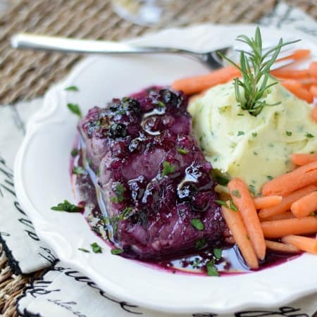 Huckleberry Glazed Salmon with Goat Cheese Whipped Potatoes | cookingwithcurls.com