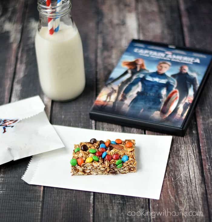 M&M's Almond Granola Bars and Captain America: The Winter Soldier | cookingwithcurls.com | #HeroesEatMMs #CollectiveBias #shop