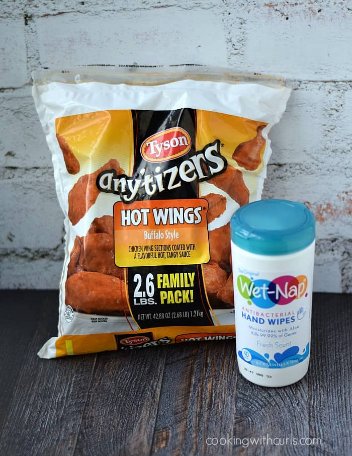 Tyson Any'Tizers Hot Wings Buffalo Style and Wet-Nap Hand Wipes are the perfect combination for any Football Gathering   cookingwithcurls.com