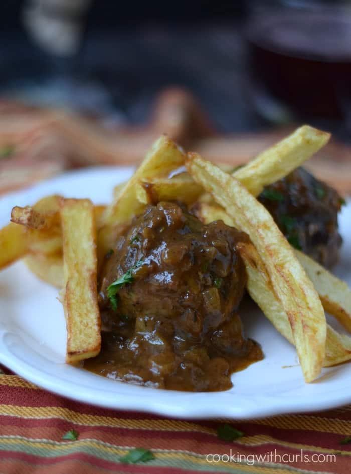 Boulets liégeois with pomme frites {Liege Meatballs} | cookingwithcurls.com