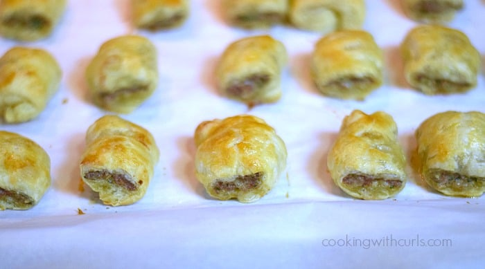 Puff Pastry Sausage Rolls baked cookingwithcurls.com