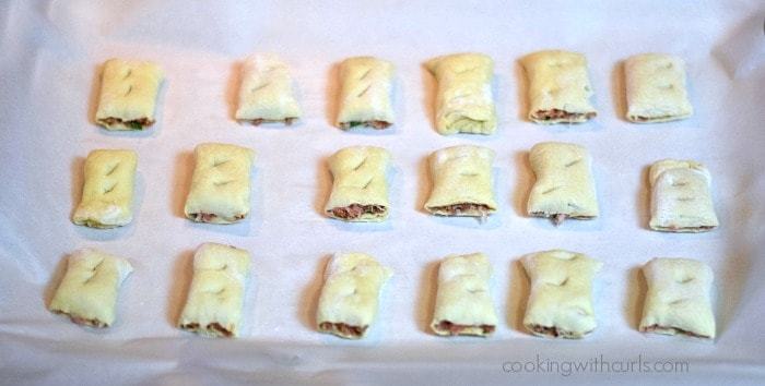 Puff Pastry Sausage Rolls pan cookingwithcurls.com