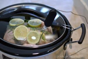 Slow Cooker Lemon Rosemary Chicken probe cookingwithcurls.com