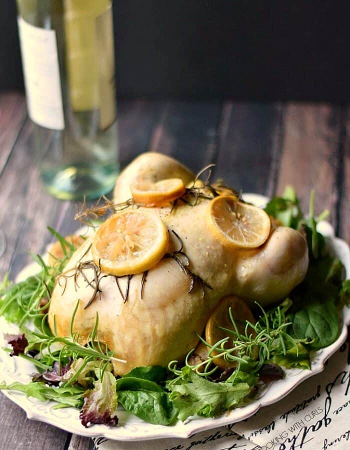 This tender and delicious Slow Cooker Lemon Rosemary Chicken is full of flavor and couldn't be any easier to prepare! cookingwithcurls.com