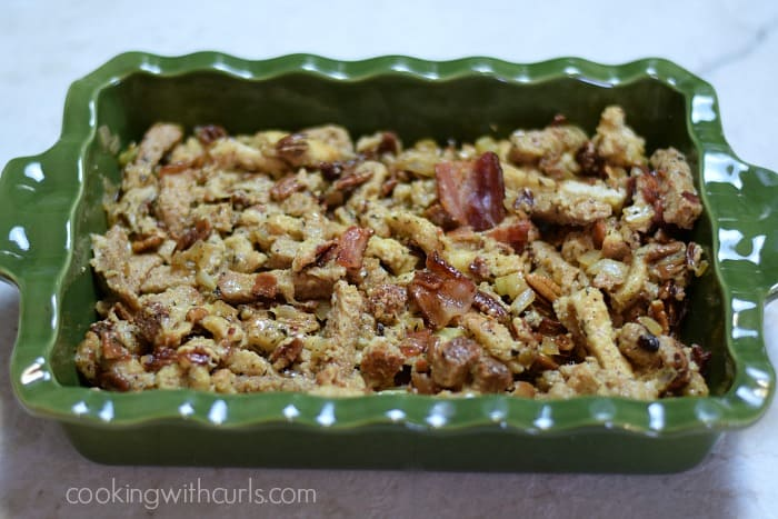 Bacon Pecan Stuffing pan cookingwithcurls.com